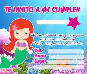 Invitación De La Sirenita Para Imprimir Mega Idea
