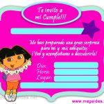 Invitación de Dora la Exploradora para imprimir