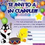 Invitación de Piolin y el gato Silvestre para imprimir