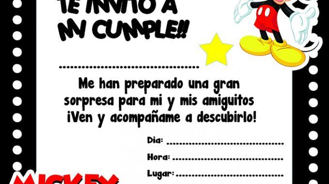 Invitación De Mickey Mouse Para Imprimir Mega Idea
