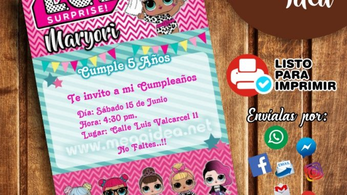 Invitación De Las Muñecas Lol Surprise Para Imprimir Mega Idea