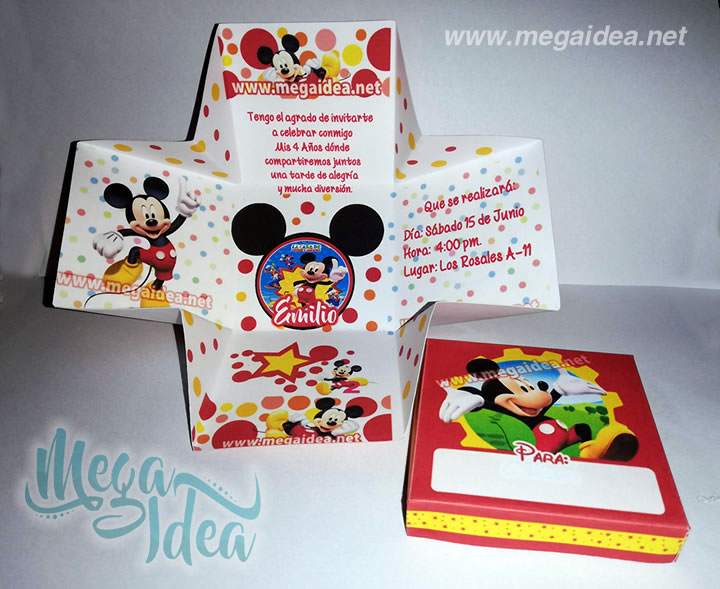 Invitación En Cajita Mickey Mouse Para Imprimir Mega Idea