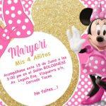 Invitación de la Minnie Dorada para Imprimir