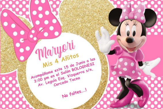 Invitacion Minnie Dorado