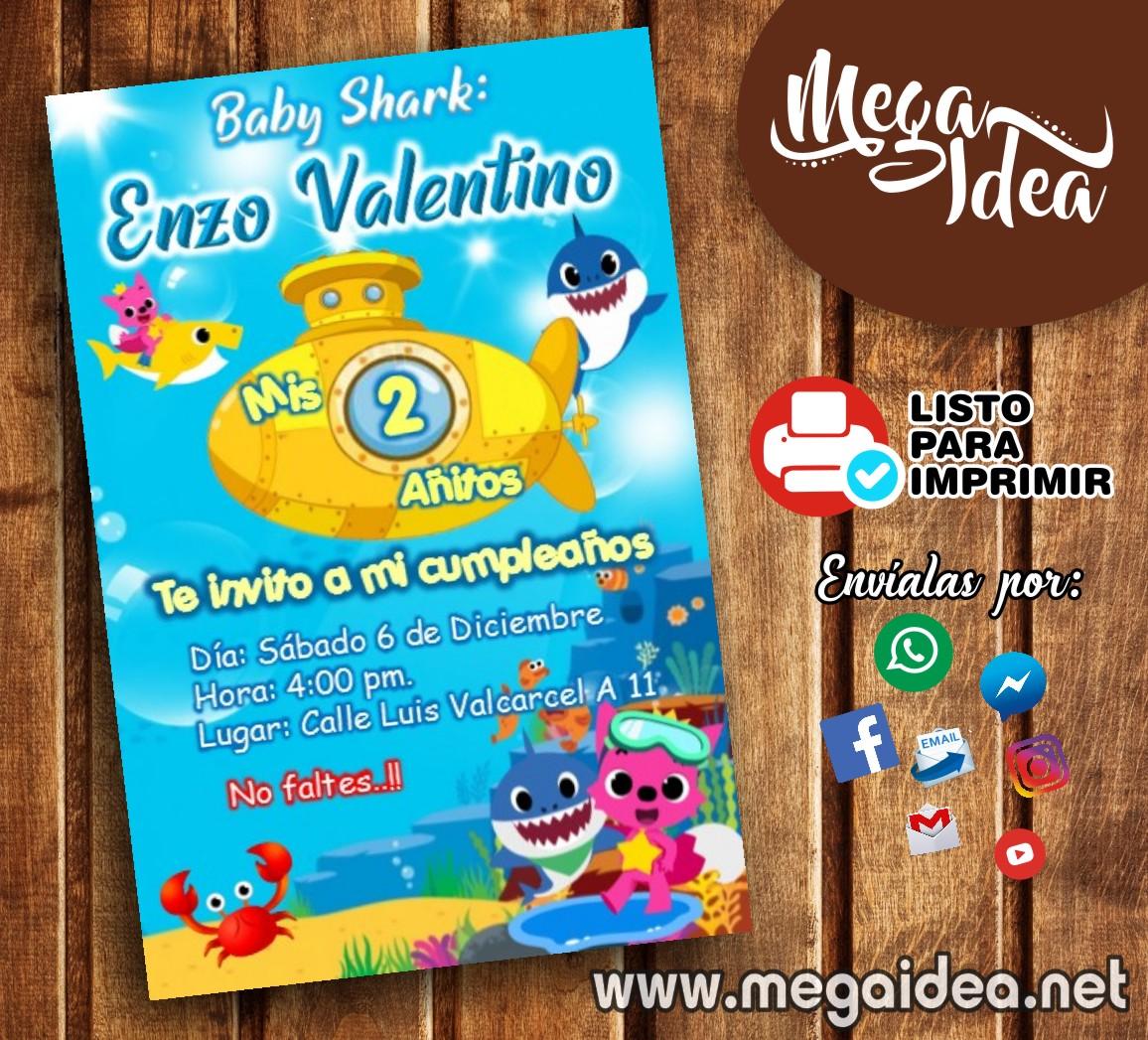 Invitación De Baby Shark Para Imprimir Mega Idea