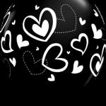 globo negro corazones blancos