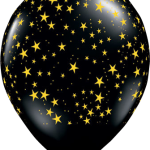 globo negro estrellitas amarillas
