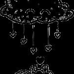 nube lluvia de amor colorear
