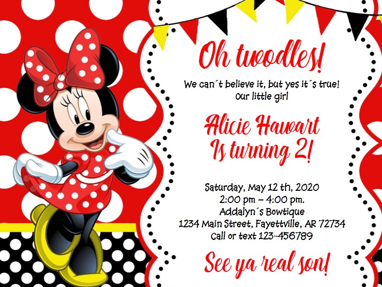 Invitacion Minnie Mouse ROJA