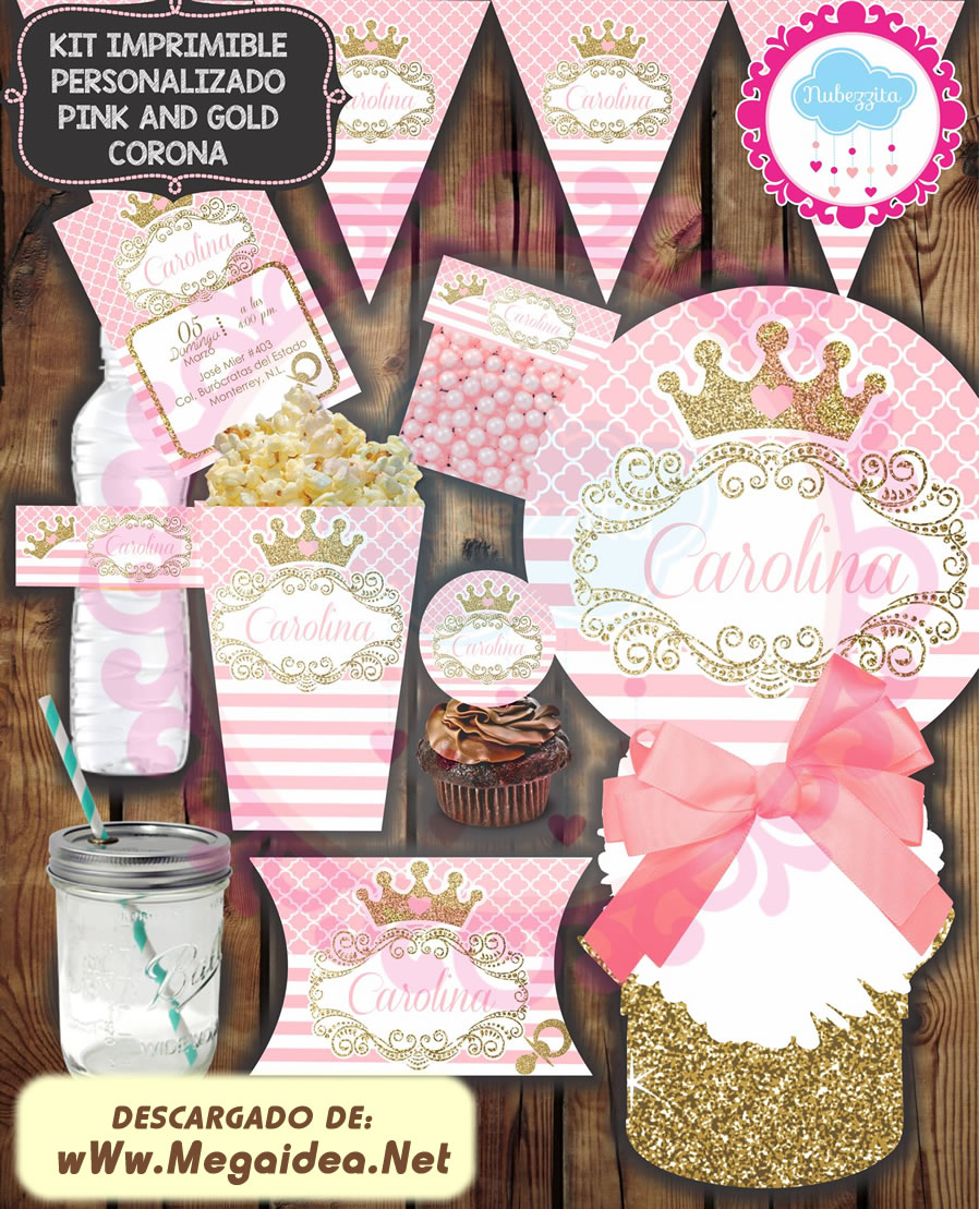 KIT IMPRIMIBLE PINK AND GOLD CORONA