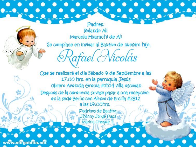 Plantilla De Invitación De Bautizo Baptism Invitation Boy