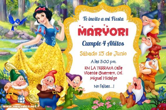 Blanca Nieves Invitacion