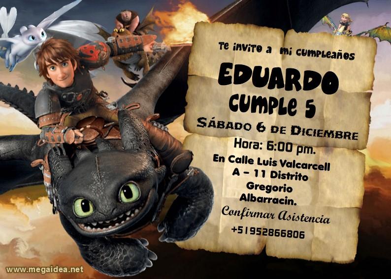 Dragon Chimuelo Invitacion