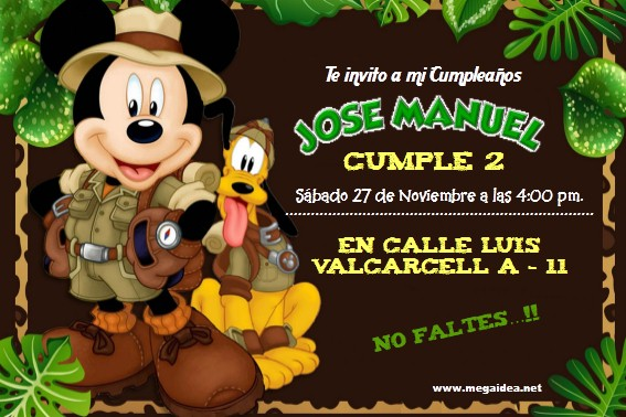 Plantilla Invitación Mickey Safari Mickey Safari