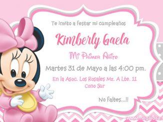 Minnie bebe Invitacion