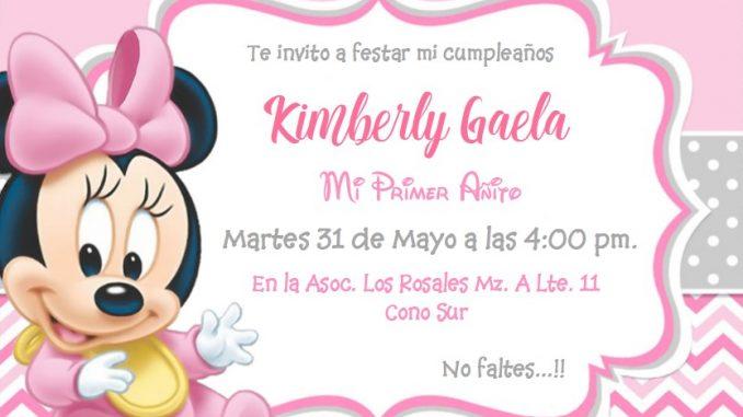 Plantillas De Invitaciones De La Minnie Bebe Minnie Mouse