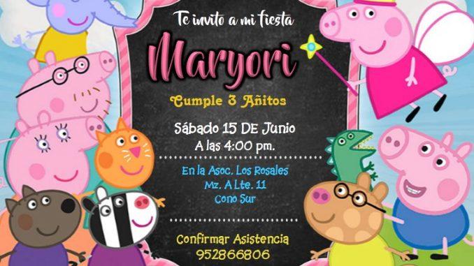 Invitación De La Peppa Pig Plantilla Editable Peppa Pig