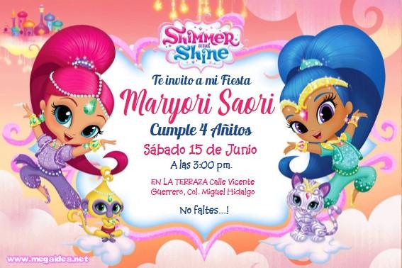 Shimmer and Shine Invitacion