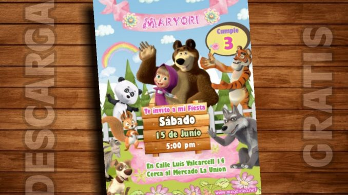 Plantilla Invitación Masha Y El Oso Masha And The Bear