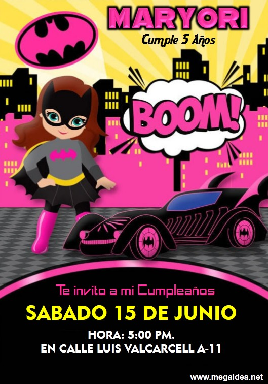 Invitaciones De Batgirl Para Editar Gratis Mega Idea