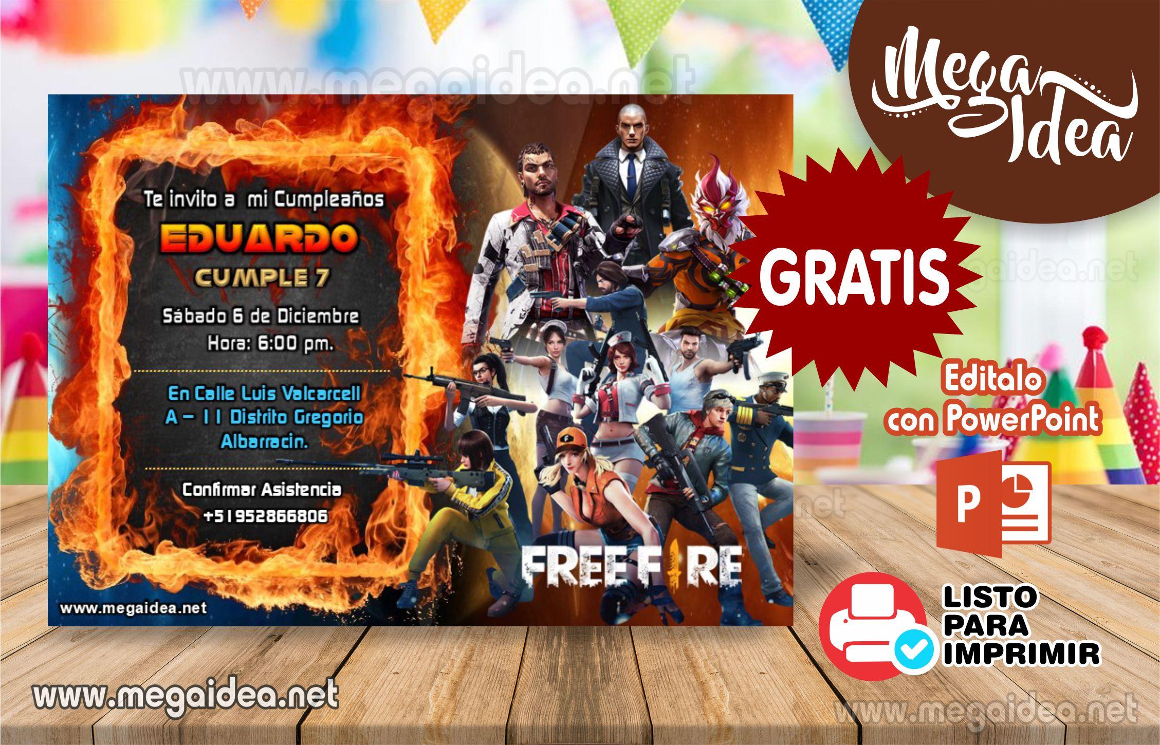 Free Fire Invitacion GRATIS en Powerpoint