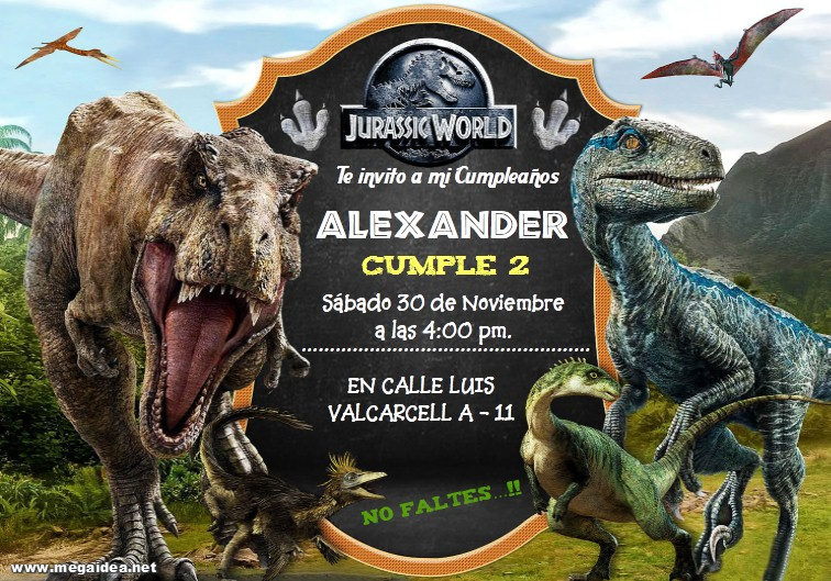 Plantilla Invitación De Jurassic World Jurassic World Invitation Personalized Free Mega Idea