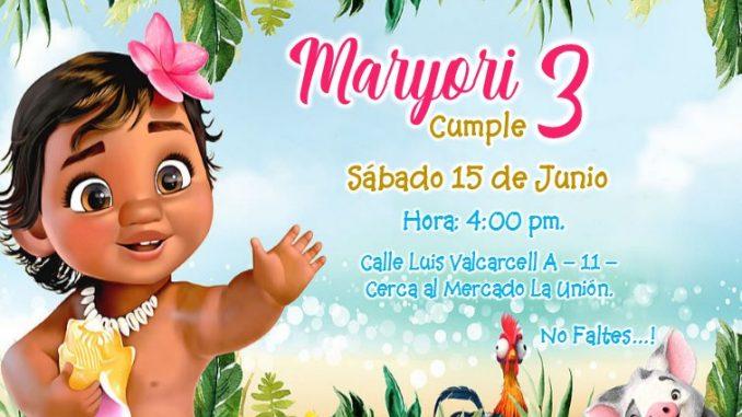 Invitación Moana Bebe En Powerpoint Gratis Baby Moana