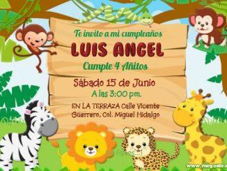Safari Animalitos Invitacion