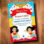 Invitación Mujer Maravilla niña para Editar GRATIS