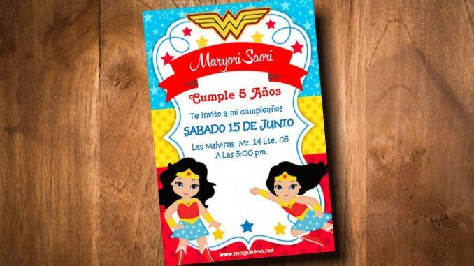 Invitación Mujer Maravilla Niña Para Editar Gratis Mega Idea