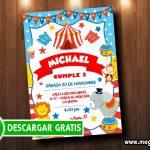 Tarjeta de Invitación Circo para Imprimir GRATIS