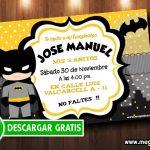Invitación Batman para Imprimir Gratis