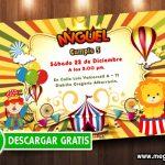 Invitación Circo para Imprimir GRATIS