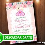 Invitaciones de Baby Shower Flores Niña