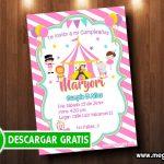 Invitación Circo Niña para Imprimir GRATIS
