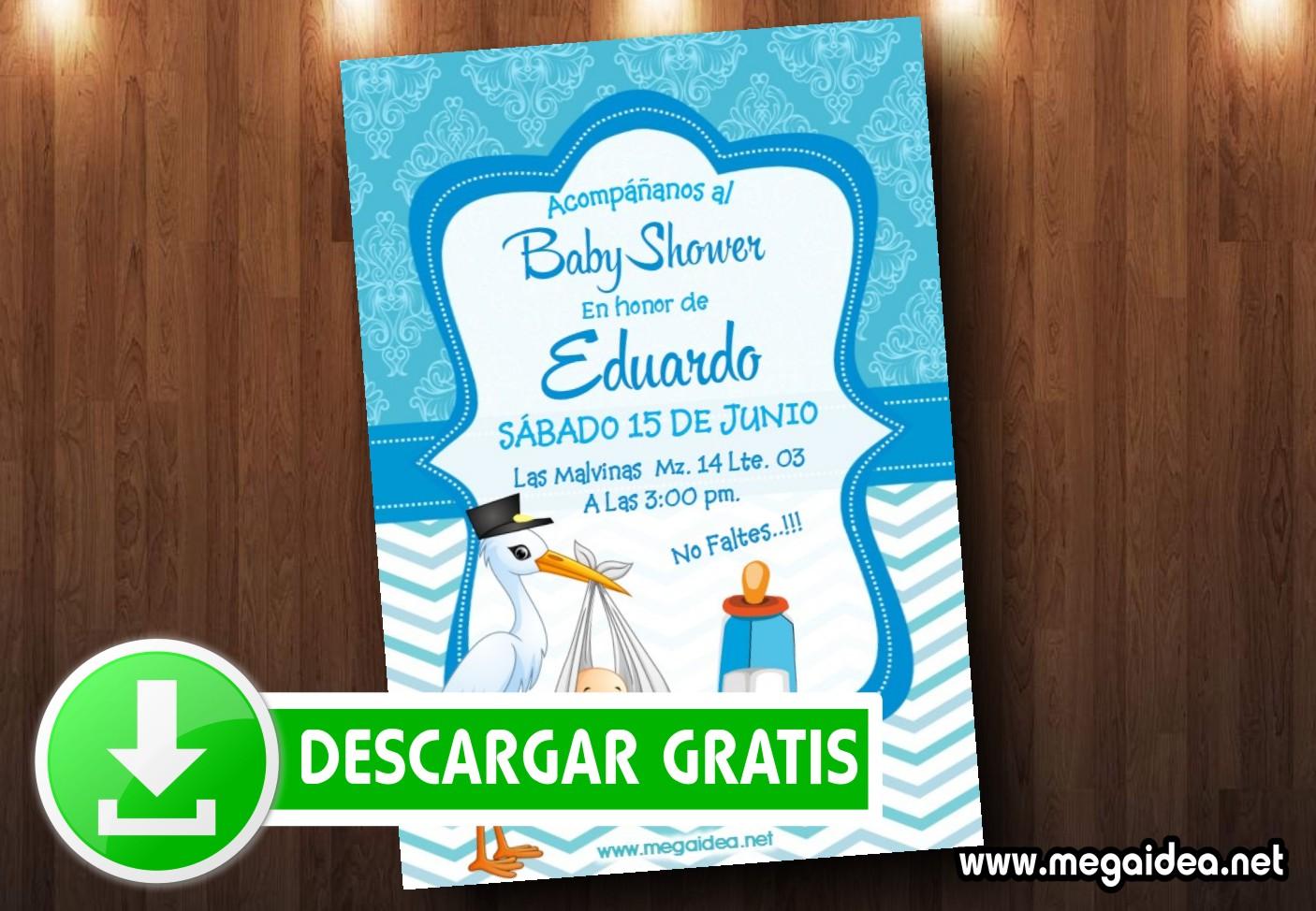 Invitaciones De Baby Shower Cigueña Con Bebe Mega Idea