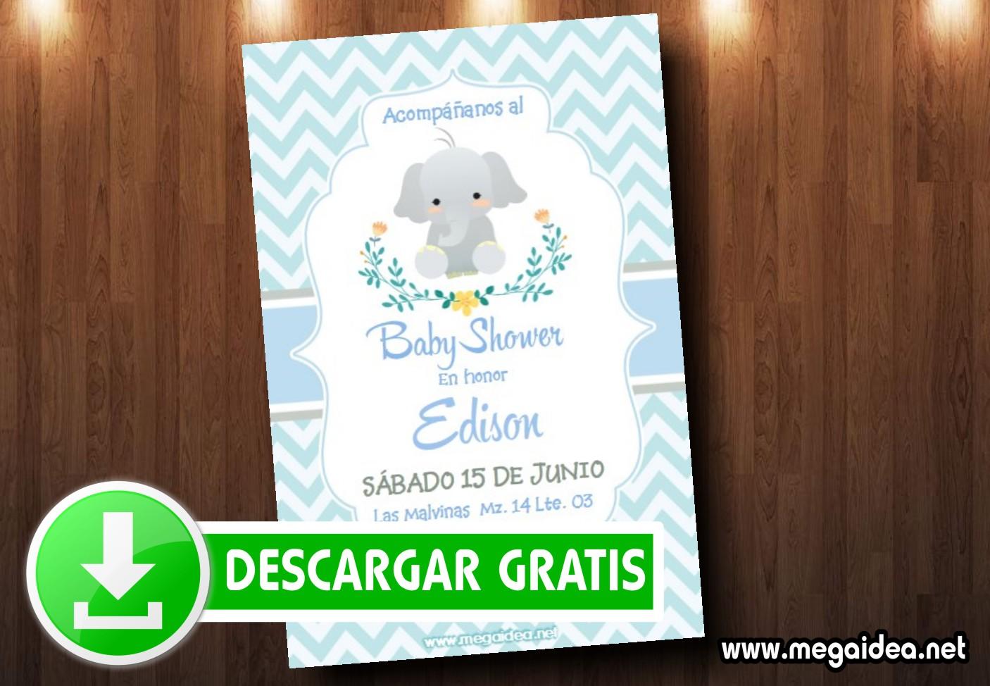 Invitaciones De Baby Shower Elefantito Mega Idea