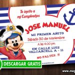Mickey Mouse Marinero Invitaciones