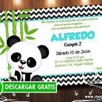 Invitación Cumpleaños Oso Panda