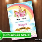 Unicornio Invitaciones GRATIS para Imprimir