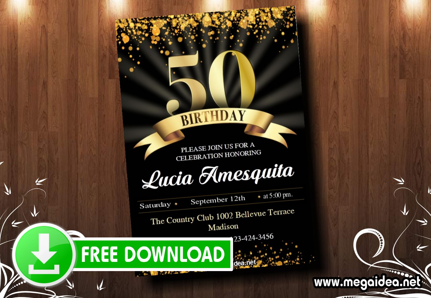 50 Birthday Invitation MUESTRA222