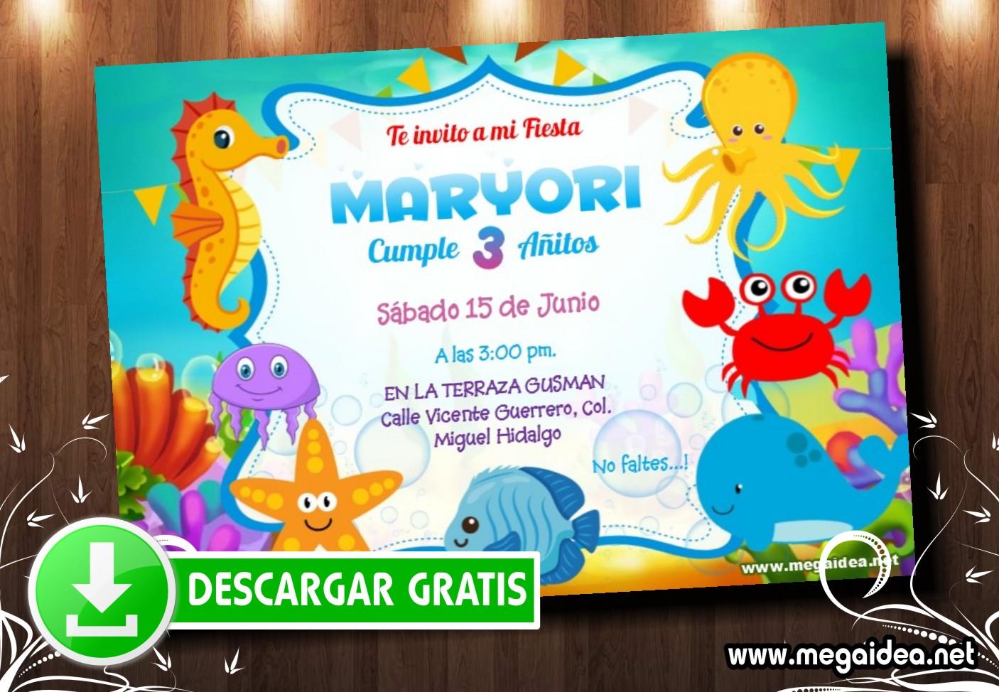 Animalitos Mar Invitacion MUESTRA