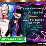 Invitaciones Harley Quinn para Editar GRATIS
