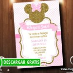 Invitaciones Minnie Gold para Editar