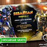 Invitación Transformers para Imprimir GRATIS