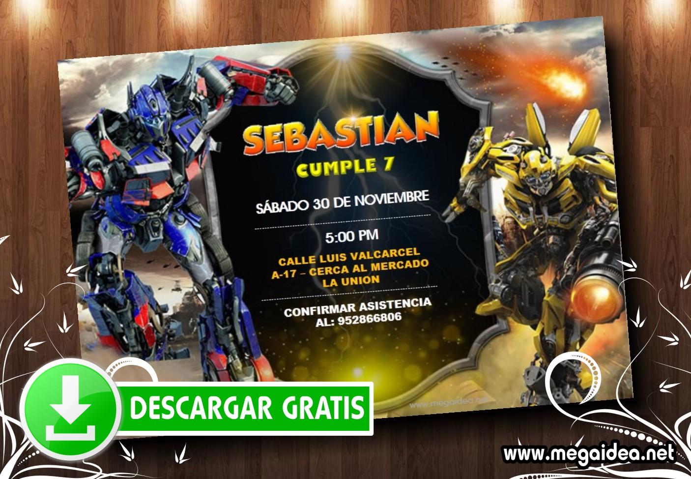 Transformers Invitation MUESTRA