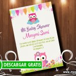 Invitación Baby Shower Buhos Niña