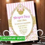 Invitaciones Minnie Gold para Editar GRATIS