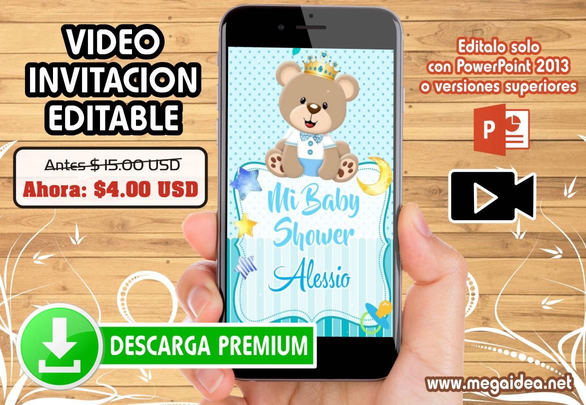 video invitacion baby shower osito