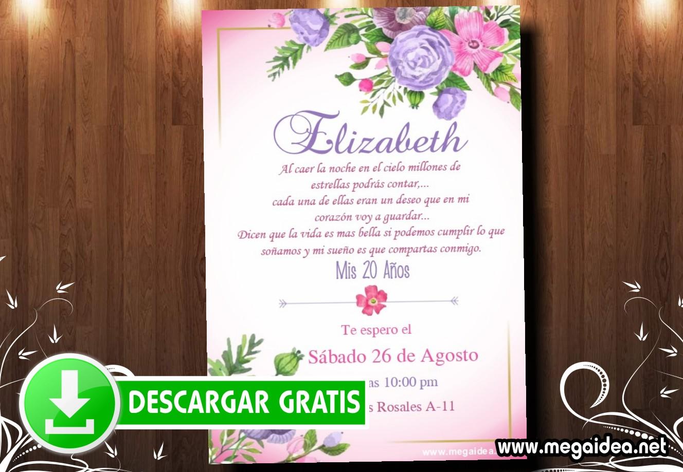 20 Cumple Flores Invitacion